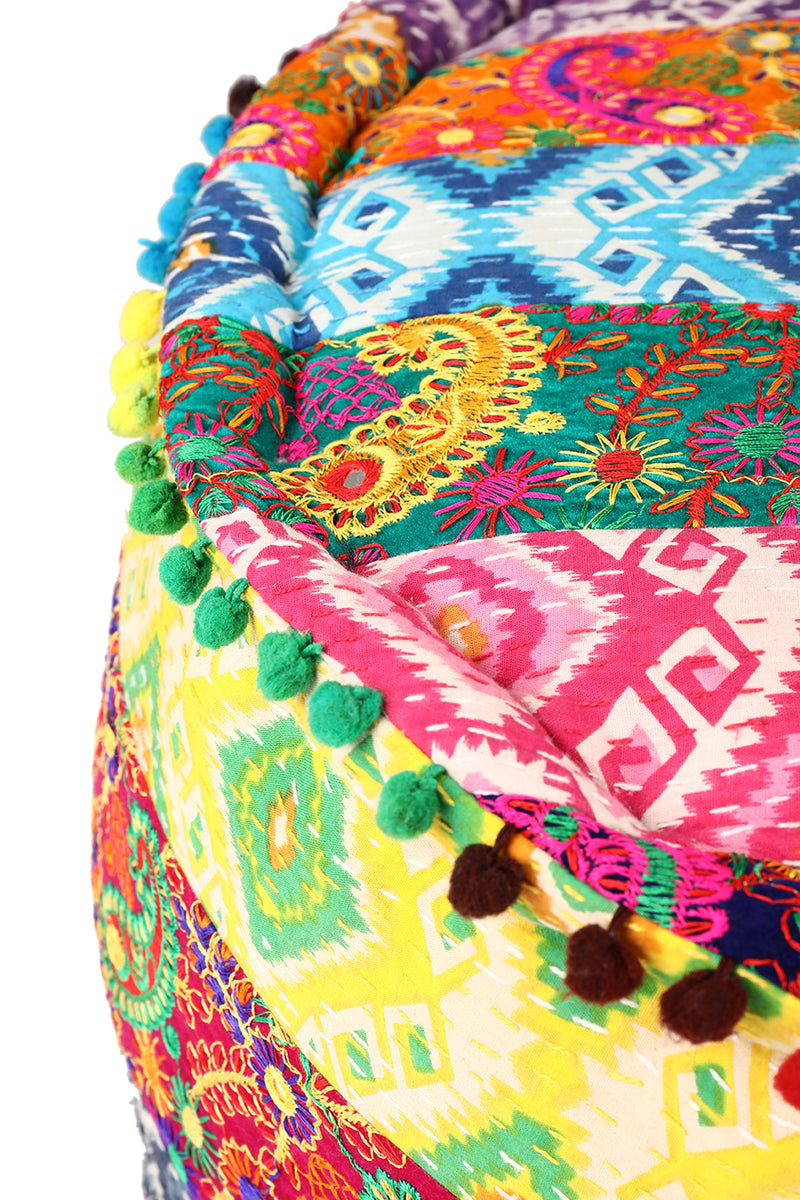 Assorted Multicolour Kantha Embroidered Ottoman