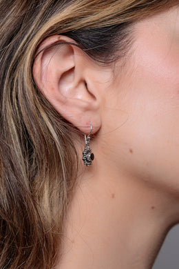Garnet Dotted Star Silver Earrings