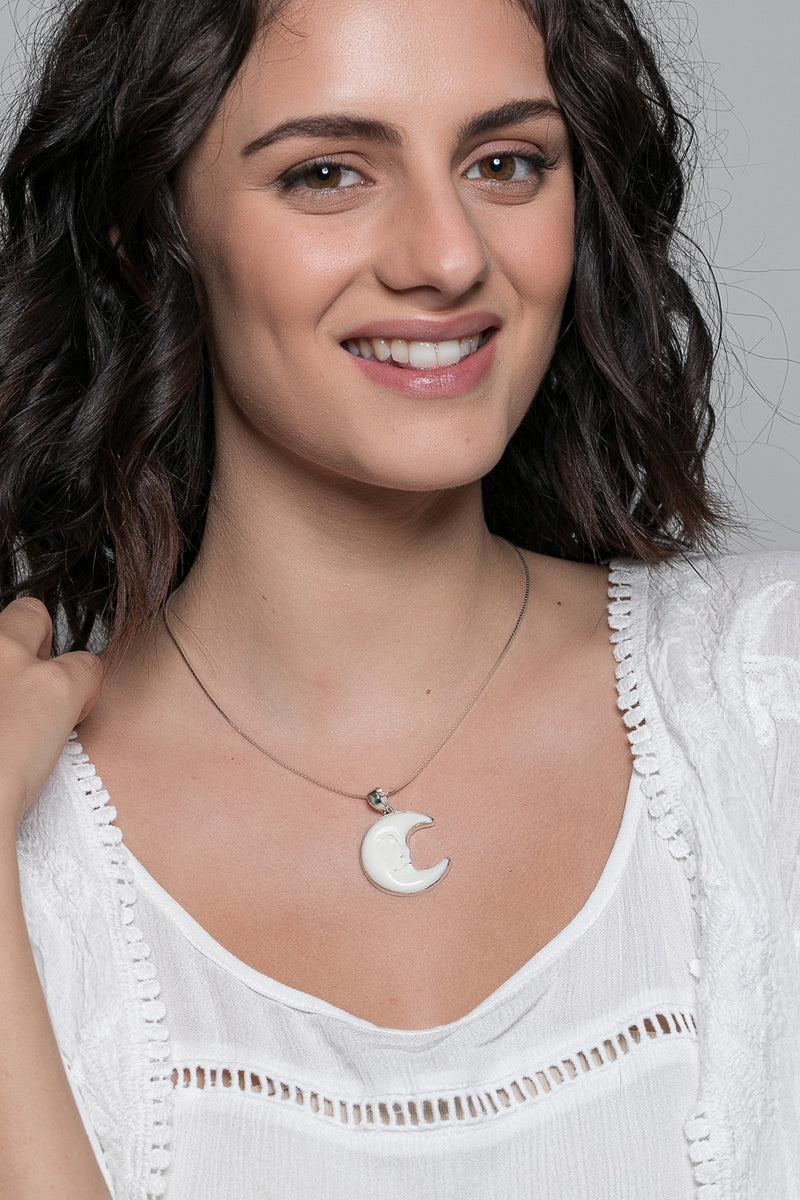 Crescent Moon Bone Silver Pendant