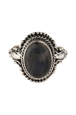 Tribal Oval Labradorite Silver Ring