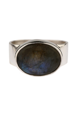 Simple Oval Labradorite Silver Ring