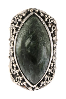 Statement Seraphinite Filigree Silver Ring