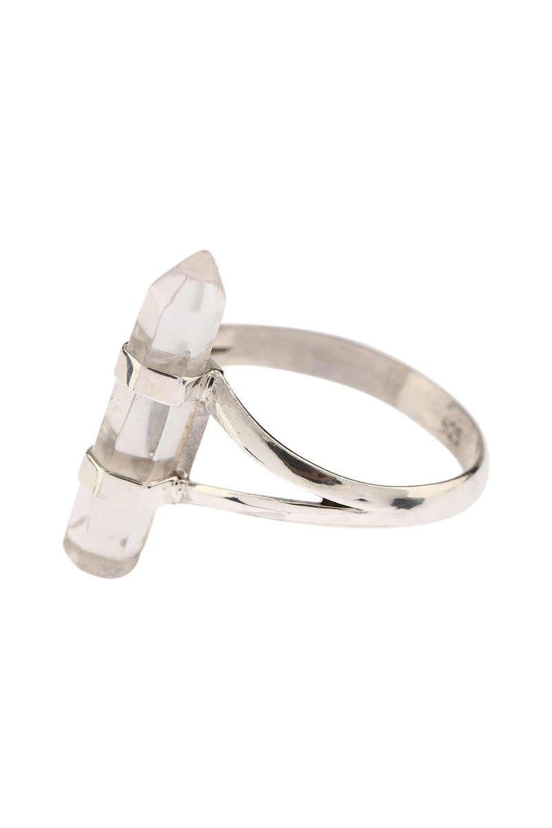 Quartz Point Split Band Silver Ring