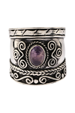 Amethyst Shield Silver Ring