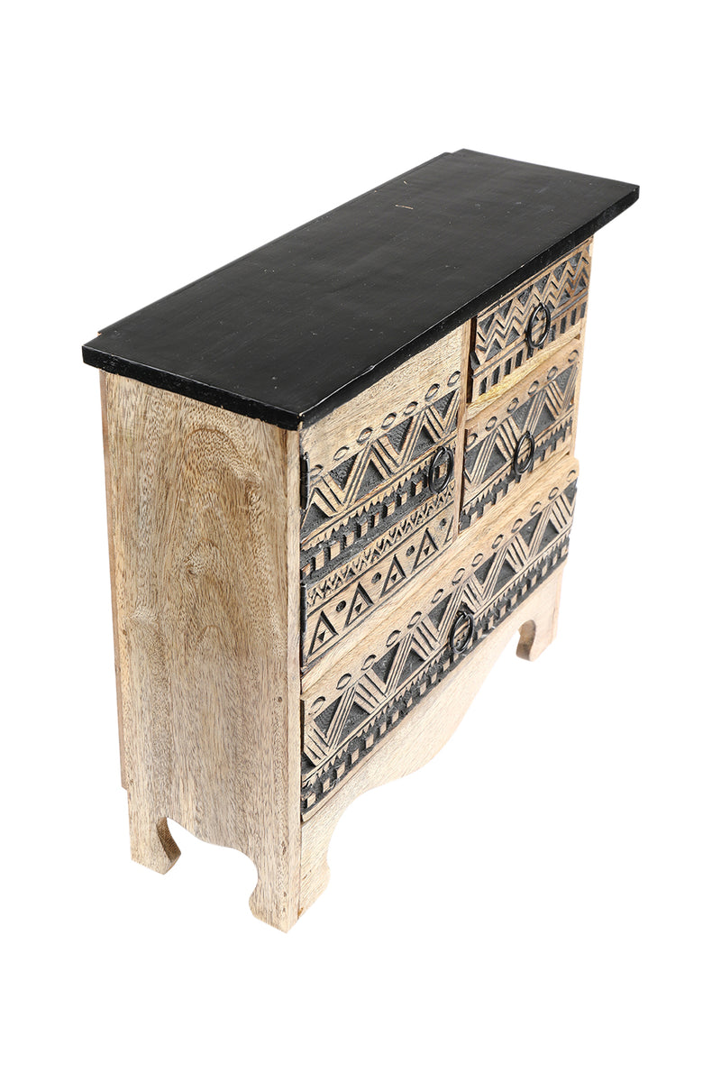 Black Inlay Bohemian Jewellery Chest of Drawers