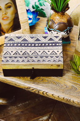 Bohemian Black Wash Wooden Box