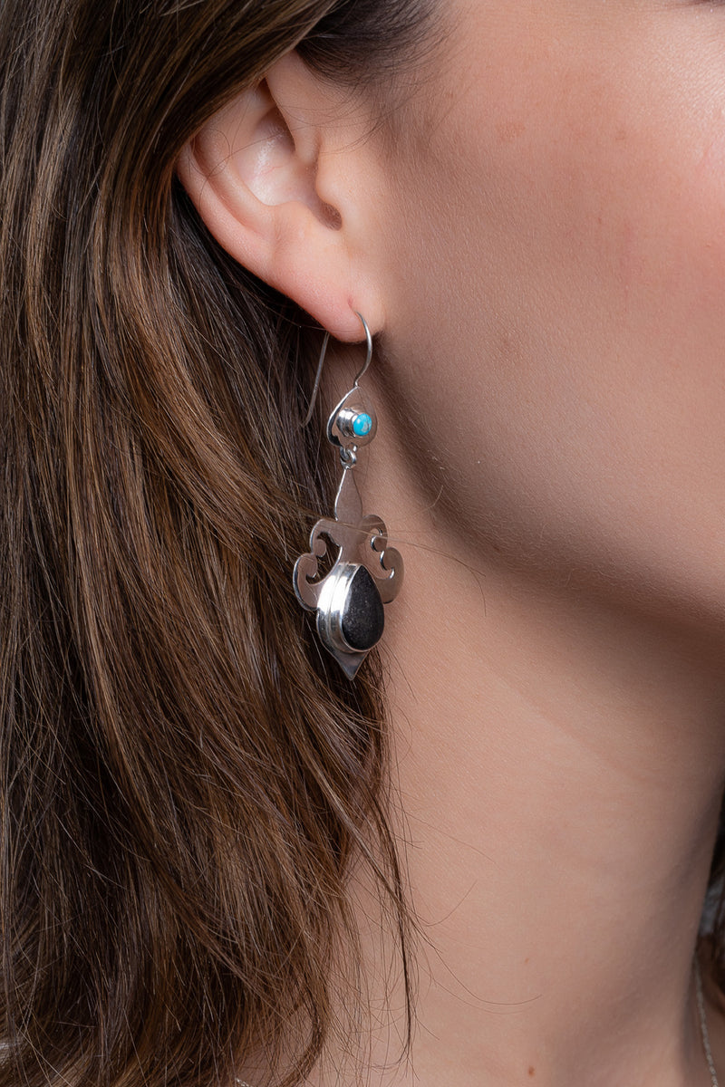 Nepalese Turquoise Silver Earrings