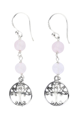 Double Rose Quartz Tree of Life Silver Earrings
