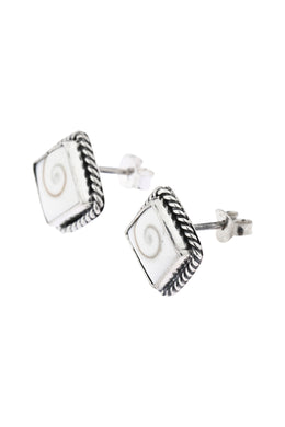 Square Siwa Shell Silver Stud Earrings