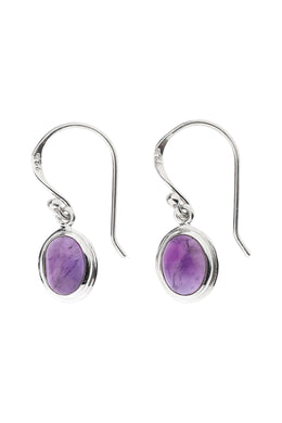 Amethyst Oval Droplet Silver Earrings