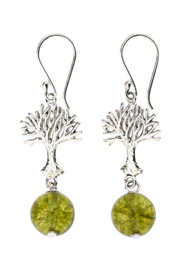 Peridot Tree of Life Silver Earrings