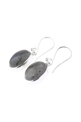 Oval Labradorite Droplet Silver Earrings