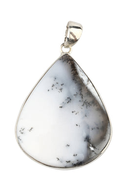 Large Dendritic Agate Silver Pendant