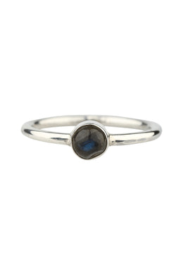 Round Labradorite Simple Silver Ring