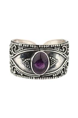 Tribal Amethyst Open Silver Ring