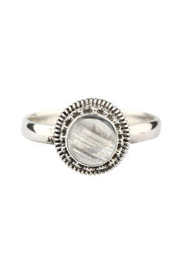 Round Rainbow Moonstone Silver Ring