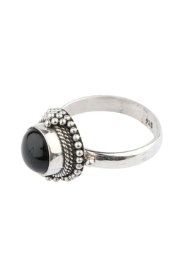 Round Tribal Onyx Silver Ring