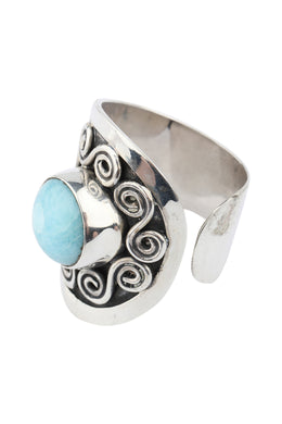 Larimar Swirl Shield Silver Ring