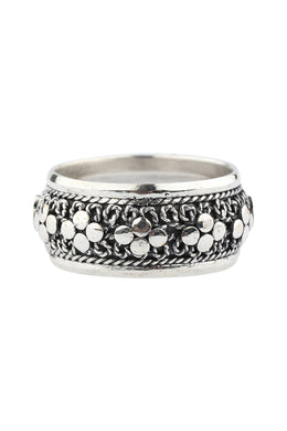 Ornate Dot Balinese Silver Ring