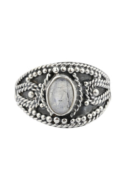 Moonstone Tribal Silver Ring