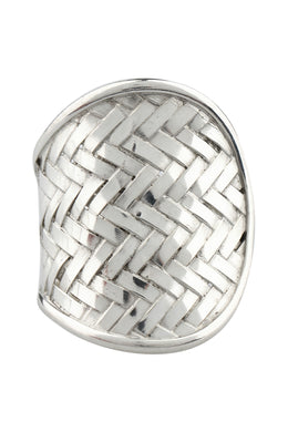 Open Basket Weave Silver Ring