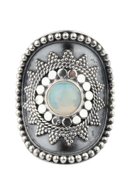 Opal Star Shield Silver Ring