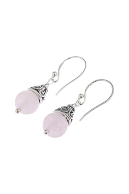 Rose Quartz Ball Filigree Cap Silver Earrings