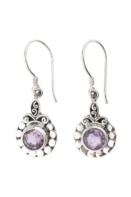 Tribal Amethyst Droplet Silver Earrings