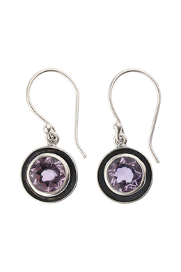Round Amethyst Oxidised Silver Earrings