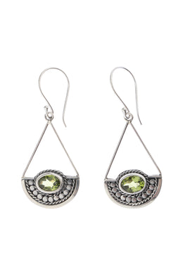Swinging Peridot Tribal Silver Earrings