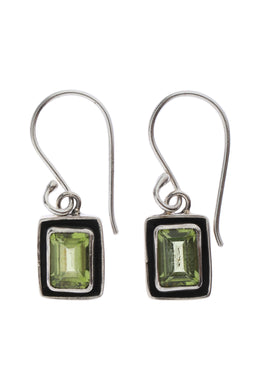 Rectangular Peridot Droplet Silver Earrings