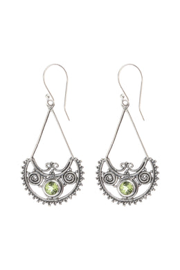 Peridot Droplet Swirling Silver Earrings