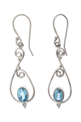Blue Topaz Dainty Swirl Silver Earrings