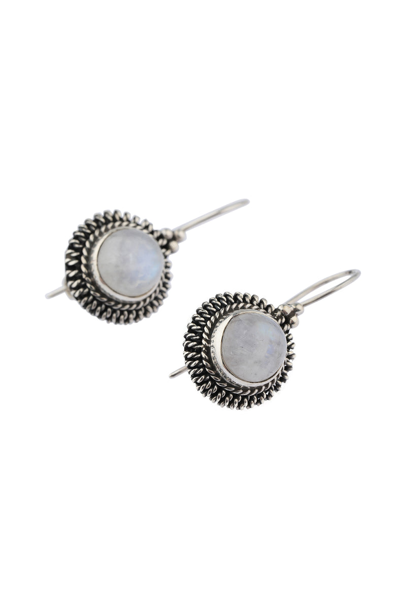Round Moonstone Silver Earrings