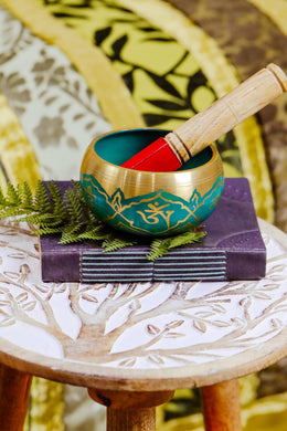Turquoise Brass Singing Bowl with Stick