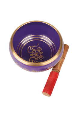 Purple Brass Singing Bowl with Stick
