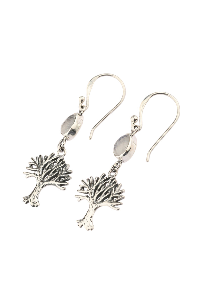 Moonstone Tree of Life Silver Earrings