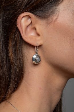 Moonstone Round Silver Cushion Earrings