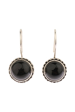 Round Onyx Silver Hook Earrings