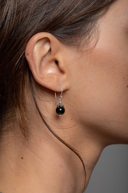 Round Black Onyx Droplet Silver Earrings