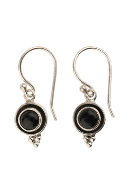 Round Black Onyx Oxidised Silver Earrings