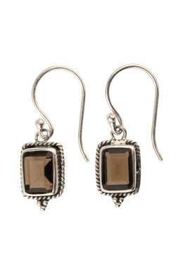 Rectangle Smoky Quartz Silver Earrings