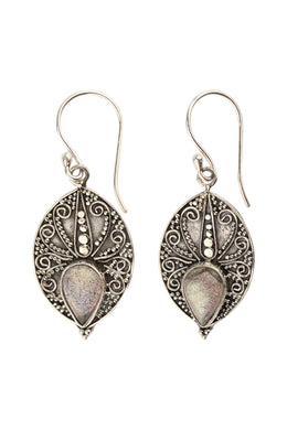 Tribal Texture Labradorite Silver Earrings
