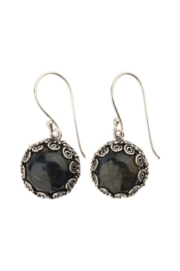 Round Labradorite Swirl Edge Silver Earrings