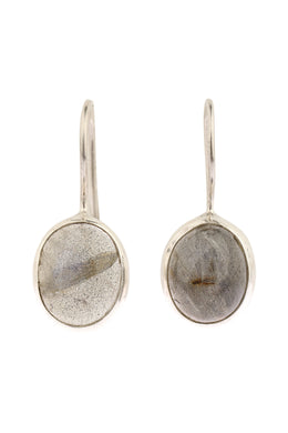 Oval Labradorite Hook Silver Earrings