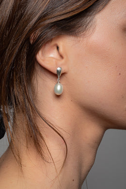 Freshwater Pearl Droplet Stud Silver Earrings
