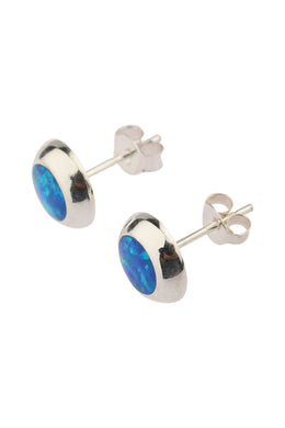 Round Opalite Silver Stud Earrings