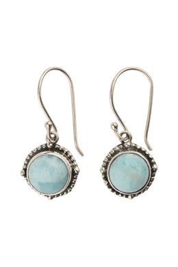 Round Larimar Dot Edge Silver Earrings