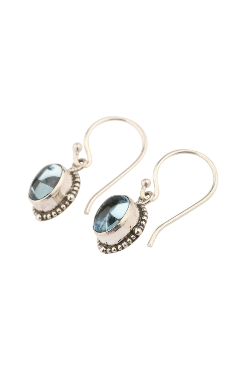 Oval Blue Topaz Droplet Silver Earrings
