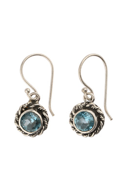 Round Blue Topaz Rope Edge Silver Earrings